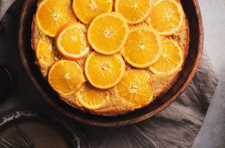 Upside-down Almond Orange Coconut Cake